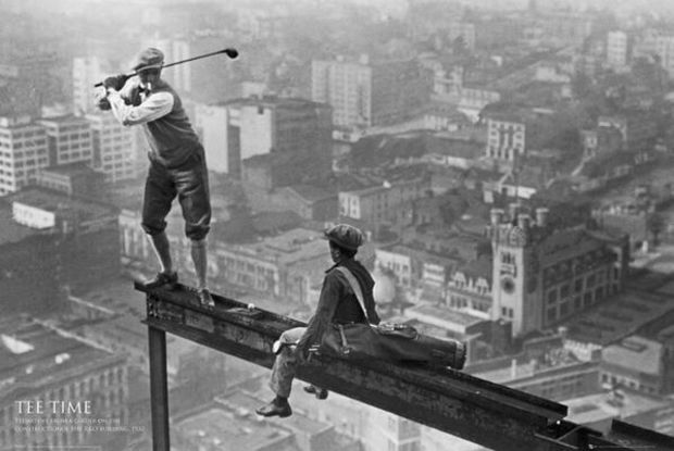 Playing golf on a skyscraper. 1932